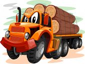 picture of logging truck  - Mascot Illustration of a Truck Transporting Large Logs - JPG