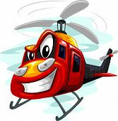stock photo of attack helicopter  - Mascot Illustration of an Assault Helicopter Whirring Its Rotors - JPG