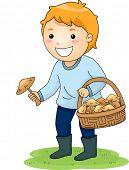 image of mushroom  - Illustration of a Little Boy Picking Mushrooms - JPG