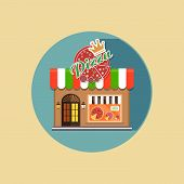 foto of local shop  - Vector modern flat design square architecture web icon on retro style local pizza shop brown facade with awning and products exposed in the window - JPG