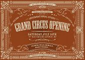 stock photo of prospectus  - Illustration of a horizontal vintage retro circus invitation poster background to a grand opening with floral patterns frames banners grunge texture and retro design - JPG