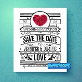 picture of amour  - Retro stylish Save The Date wedding template with black and white text with calligraphic ornaments and a red symbolic heart over a graduated blue background - JPG