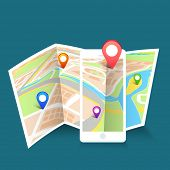 image of gps navigation  - Colorful navigation pointers pointing to the world map on blue background - JPG