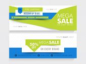 image of ship  - Creative website header or banner set of Mega Sale with free shipping and 50 - JPG