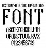 foto of gothic  - Handwritten black distorted gothic upper case alphabet with numbers - JPG