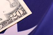 foto of american money  - american dollars on american flag - JPG