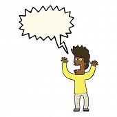 stock photo of terrifying  - cartoon terrified man with speech bubble - JPG