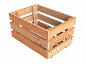 picture of crate  - An isolated empty wooden fruit crate and box - JPG