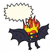 stock photo of vampire bat  - cartoon vampire bat with speech bubble - JPG