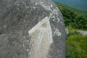 stock photo of hump  - The AT symbol painted on a rock near Hump Mountain - JPG