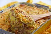 stock photo of ground-beef  - Baked Potato Gratin with Beef Ground Meat - JPG