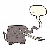 pic of mammoth  - cartoon woolly mammoth with speech bubble - JPG