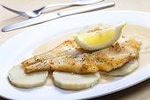 stock photo of halibut  - fried halibut with sweet potatoes and lemon sauce - JPG
