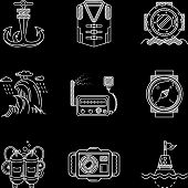 pic of nautical equipment  - Set of white flat line vector icons for marine equipment and diving outfit on black background - JPG
