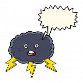 image of lightning bolts  - cartoon cloud and lightning bolt symbol with speech bubble - JPG