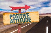 stock photo of positive  - Positive Attitude sign with road background - JPG