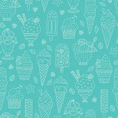 foto of gelato  - Cute hand drawn seamless pattern with different types of ice cream - JPG