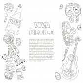 image of sombrero  - Hand drawn set of mexican symbols  - JPG
