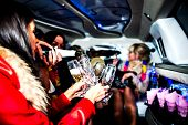 stock photo of hen party  - Girls in limo at hen - JPG