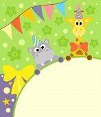 picture of hippopotamus  - Background card with funny hippopotamus and giraffe - JPG
