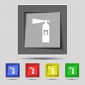 image of fire extinguishers  - fire extinguisher icon sign on the original five colored buttons - JPG