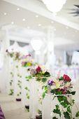 picture of banquet  - Banquet wedding decor flower on evening reception - JPG
