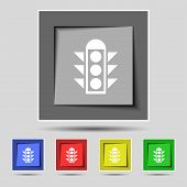 image of traffic signal  - Traffic light signal icon sign on the original five colored buttons - JPG