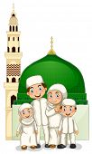 pic of muslim kids  - Muslim family with islamic temple - JPG