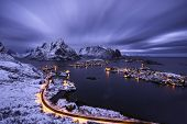 picture of reining  - Reine village in a cloudy sunset Lofoten islands Norway - JPG