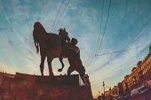 stock photo of horses ass  - Fragment of Anichkov Bridge in St - JPG