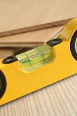 pic of carpentry  - Carpenters spirit level selective focus on the bubble a woodworking or carpentry concept - JPG