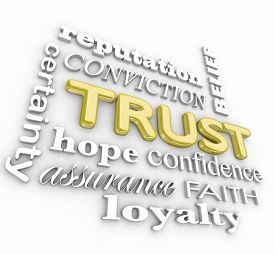 stock photo of loyalty  - Trust collage of words in 3d letters including assuance - JPG