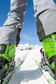 pic of ski boots  - Close up of skier - JPG