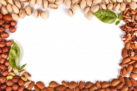 stock photo of hazelnut  - frame made of nuts pistachios walnuts almonds hazelnut isolated on white with space for writing - JPG