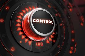 image of risk  - Control Regulator on Black Control Console with Red Backlight - JPG