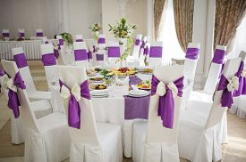 foto of banquet  - Banquet wedding table setting on evening reception - JPG