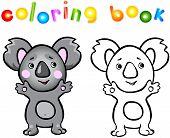 image of koala  - Funny cartoon koala coloring book - JPG