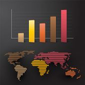stock photo of continent  - world map with colored graph by continent - JPG