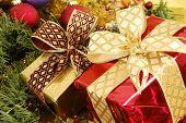 pic of christmas lights  - gold christmas ornaments with christmas lights on christmas time  - JPG