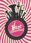 stock photo of wind instrument  - banner for jazz restaurant with wind instruments and vinyl record - JPG