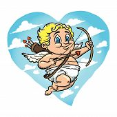 picture of cupid  - A vector illustration of a cute cartoon Cupid with a bow and arrow - JPG