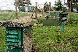 stock photo of corps  - Ventilation shafts and access point for a Royal Observer Corps Monitoring Post at Stone Point Hampshire - JPG