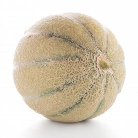 stock photo of honeydew melon  - Juicy honeydew melon on a white background - JPG