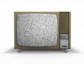 stock photo of tv sets  - old vintage tv set with empty screen template for any message isolated on white background - JPG