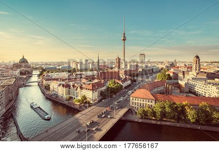 poster of Aerial View Of Berlin Skyline With Spree River In Summer, Germany