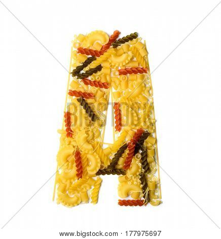 Pile of spaghetti forming a letter A, all different shapes, colors and varieties