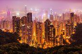 Aerial View Of Hongkong At Night poster