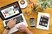 Creative Designer Graphic At Work. Color Swatch Samples, Illustrator Graphic Designer Working Digita poster