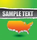 stock photo of united states map  - america shape on green ripped advertisement - JPG