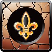 fleur de lis bronze cracked web button